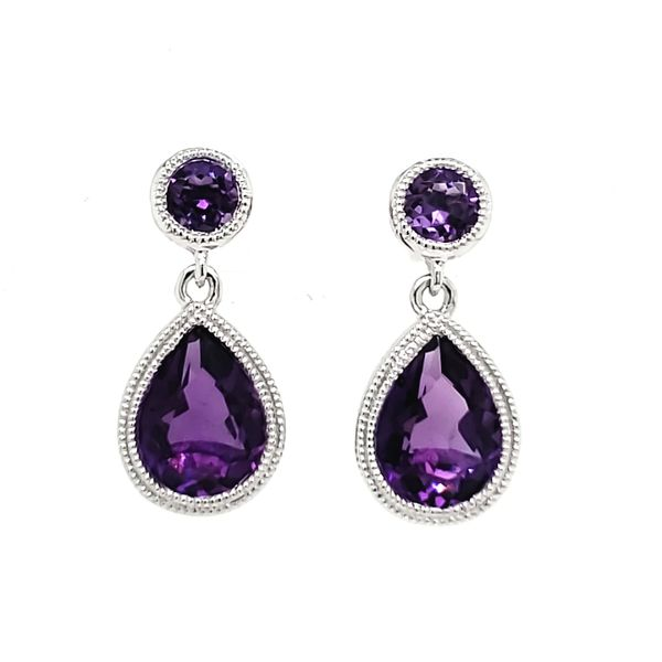 14K White Gold Amethyst Milgrain Bezel Dangle Earrings Quality Gem, LLC Bethel, CT