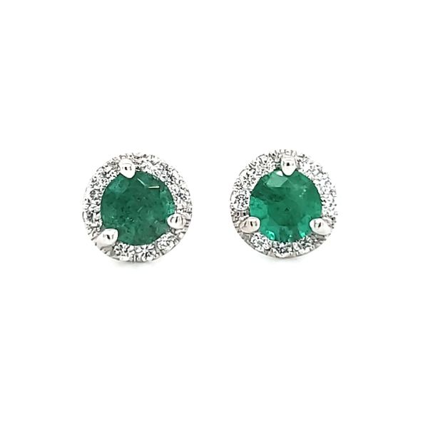14K White Gold Emerald & Diamond Halo Stud Earrings Image 2 Quality Gem, LLC Bethel, CT