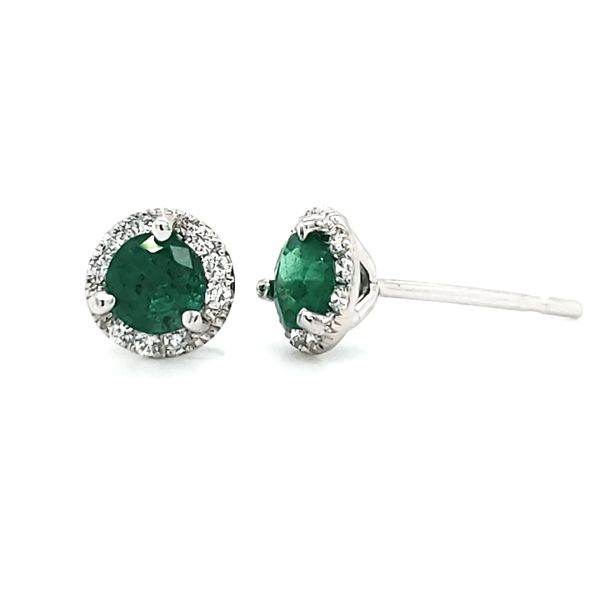 14K White Gold Emerald & Diamond Halo Stud Earrings Image 3 Quality Gem, LLC Bethel, CT