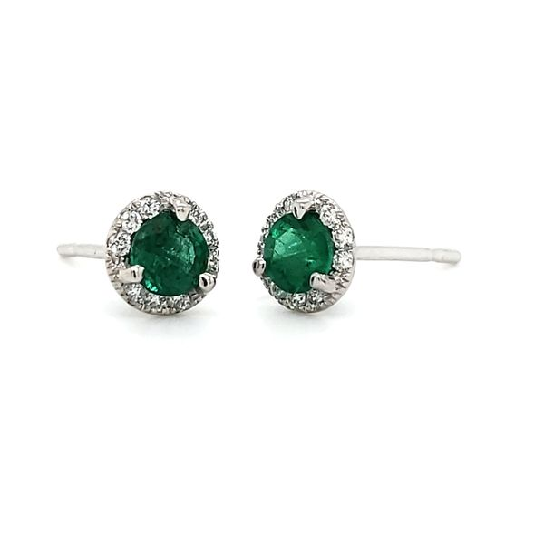14K White Gold Emerald & Diamond Halo Stud Earrings Quality Gem, LLC Bethel, CT