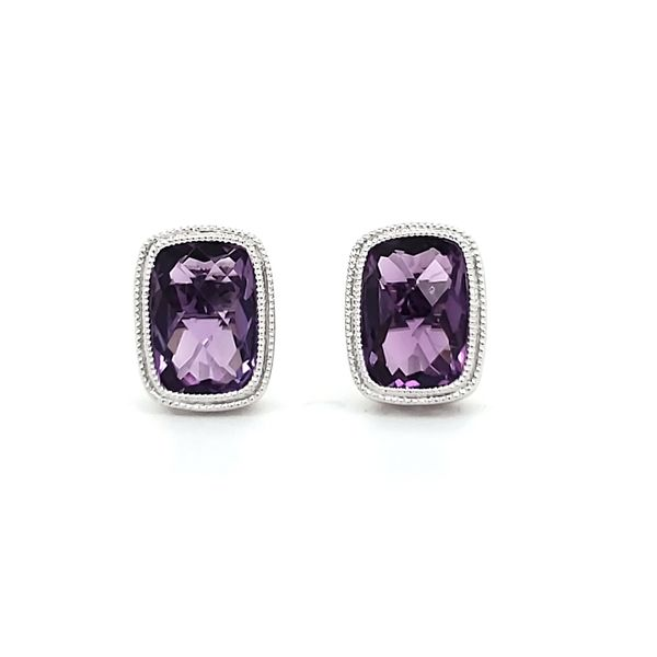 14K White Gold Filigree Bezel Cushion Amethyst Stud Earrings Image 2 Quality Gem, LLC Bethel, CT
