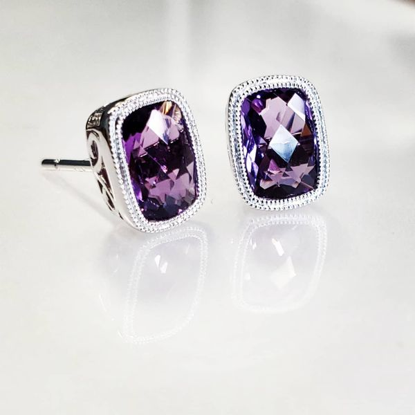 14K White Gold Filigree Bezel Cushion Amethyst Stud Earrings Image 5 Quality Gem, LLC Bethel, CT