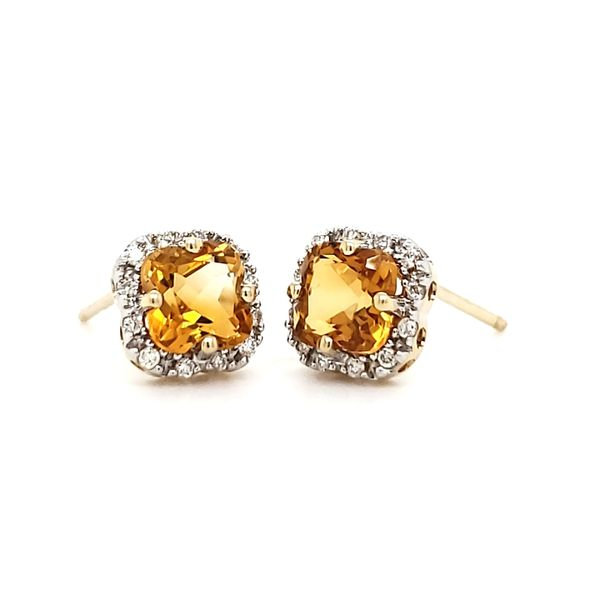 14K Yellow Gold Citrine & Diamond Stud Earrings Image 2 Quality Gem, LLC Bethel, CT