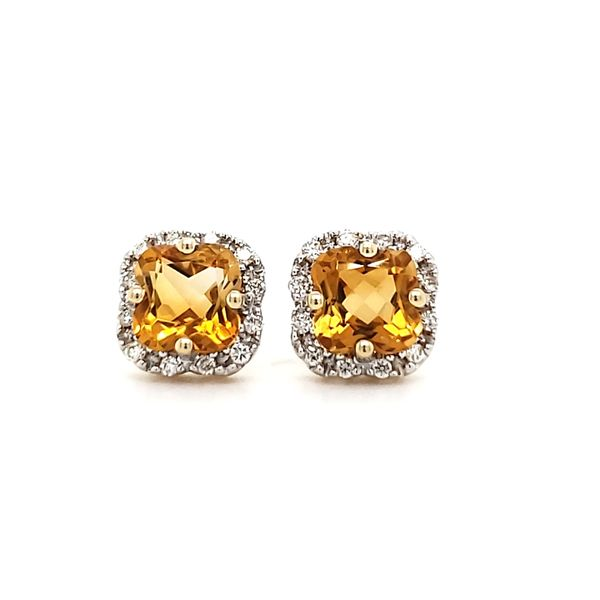 14K Yellow Gold Citrine & Diamond Stud Earrings Image 3 Quality Gem, LLC Bethel, CT