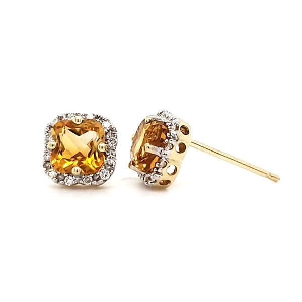 14K Yellow Gold Citrine & Diamond Stud Earrings Image 4 Quality Gem, LLC Bethel, CT