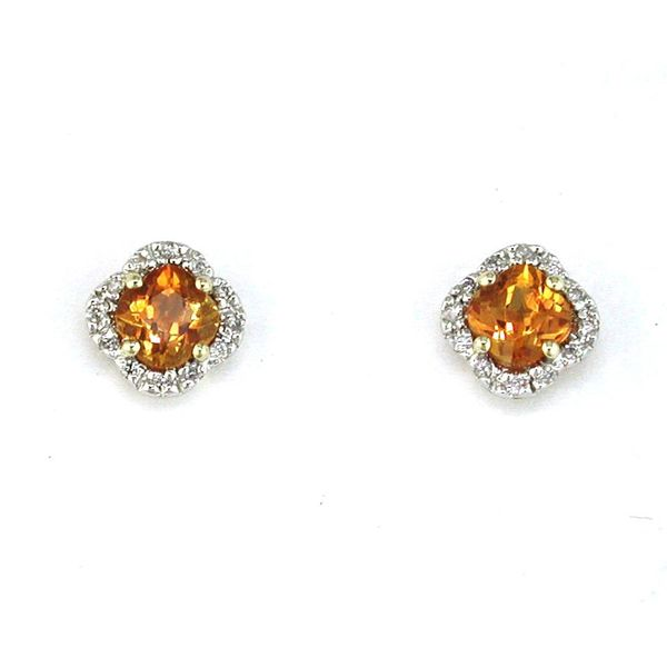 14K Yellow Gold Citrine & Diamond Stud Earrings Quality Gem, LLC Bethel, CT