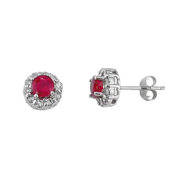 14K White Gold Ruby & Diamond Halo Stud Earrings Image 2 Quality Gem, LLC Bethel, CT