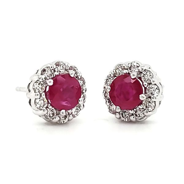 14K White Gold Ruby & Diamond Halo Stud Earrings Image 3 Quality Gem, LLC Bethel, CT