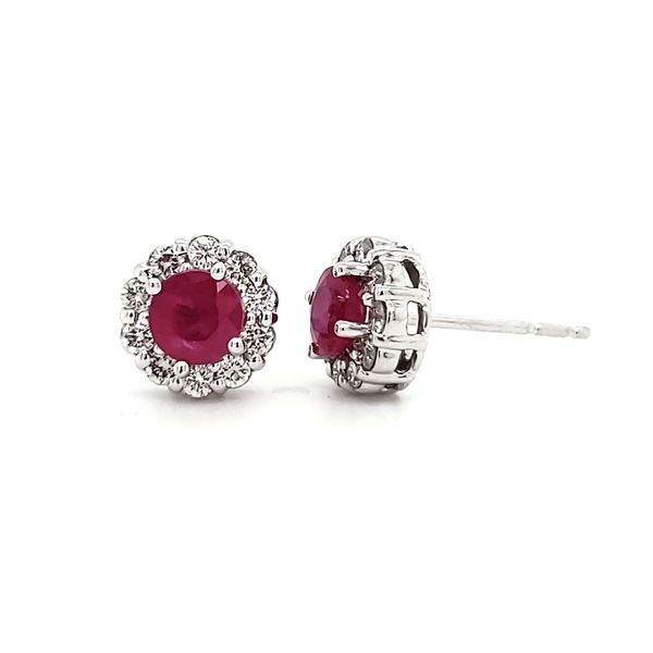 14K White Gold Ruby & Diamond Halo Stud Earrings Image 4 Quality Gem, LLC Bethel, CT