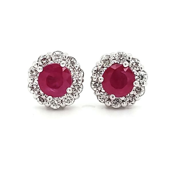 14K White Gold Ruby & Diamond Halo Stud Earrings Quality Gem, LLC Bethel, CT