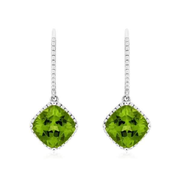 14K White Gold Peridot & Diamond Dangle Earrings Image 2 Quality Gem LLC Bethel, CT