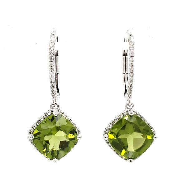 14K White Gold Peridot & Diamond Dangle Earrings Image 3 Quality Gem LLC Bethel, CT