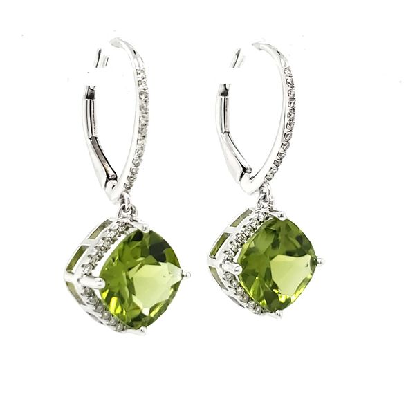 14K White Gold Peridot & Diamond Dangle Earrings Image 4 Quality Gem LLC Bethel, CT