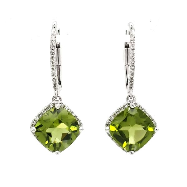 14K White Gold Peridot & Diamond Dangle Earrings Quality Gem LLC Bethel, CT