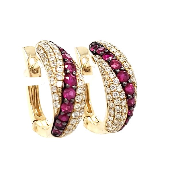 14K Yellow Gold Pavé Ruby & Diamond Huggie Hoop Earrings Image 3 Quality Gem, LLC Bethel, CT