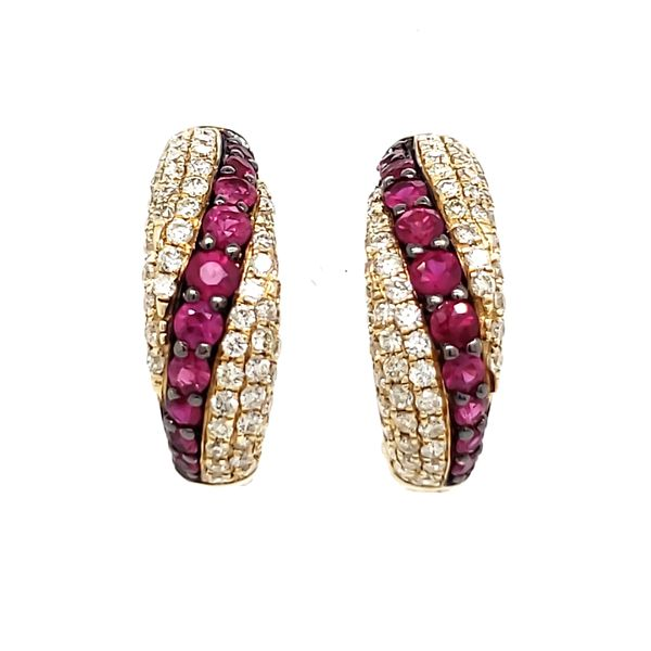 14K Yellow Gold Pavé Ruby & Diamond Huggie Hoop Earrings Quality Gem, LLC Bethel, CT