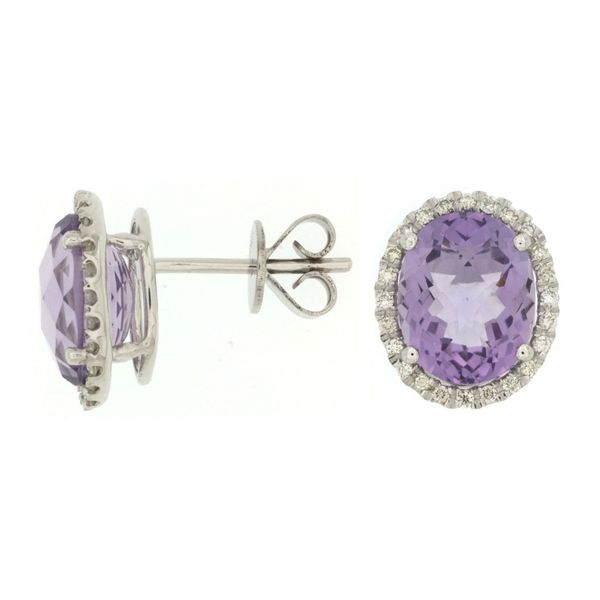 14K White Gold Amethyst & Diamond Stud Earrings Image 2 Quality Gem, LLC Bethel, CT