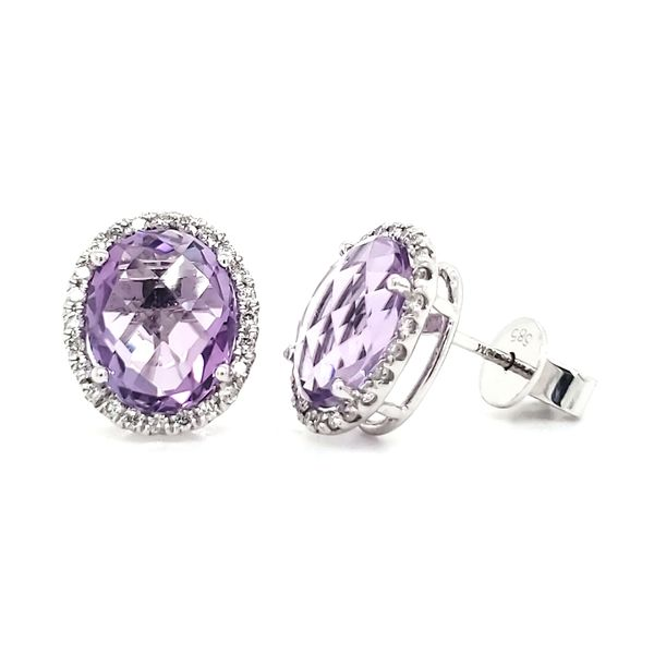 14K White Gold Amethyst & Diamond Stud Earrings Image 3 Quality Gem, LLC Bethel, CT