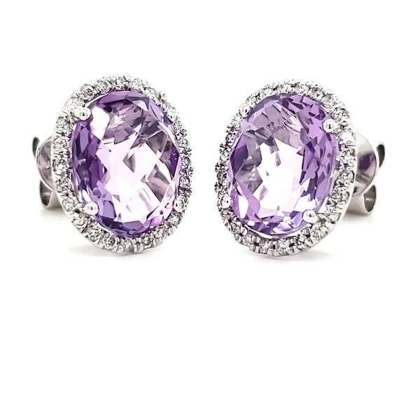 14K White Gold Amethyst & Diamond Stud Earrings Image 4 Quality Gem, LLC Bethel, CT
