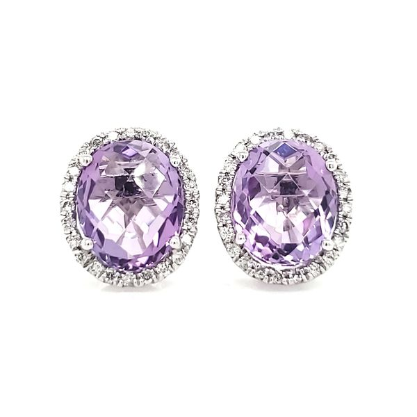 14K White Gold Amethyst & Diamond Stud Earrings Quality Gem, LLC Bethel, CT