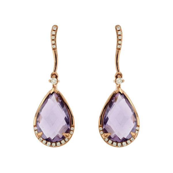 14K Rose Gold Pear Amethyst & Diamond Dangle Earrings Quality Gem, LLC Bethel, CT
