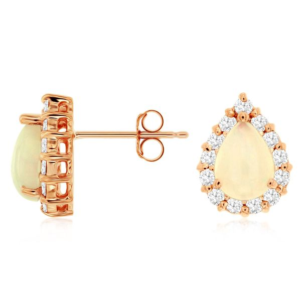 14K Rose Gold Pear Opal & Diamond Stud Earrings Quality Gem, LLC Bethel, CT