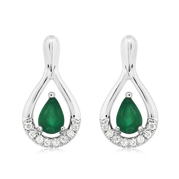 14K White Gold Open Drop Pear Emerald & Diamond Post Earrings Quality Gem, LLC Bethel, CT