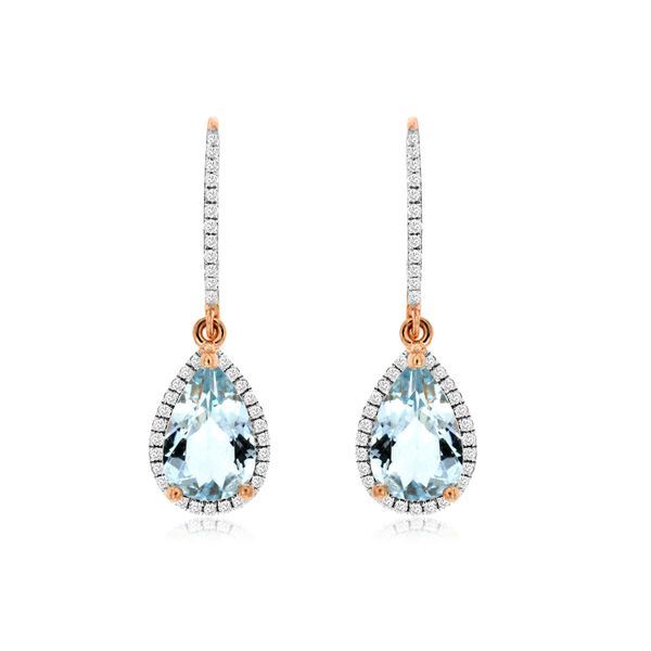 14K Rose Gold Pear Halo Aquamarine & Diamond Dangle Earrings Quality Gem, LLC Bethel, CT