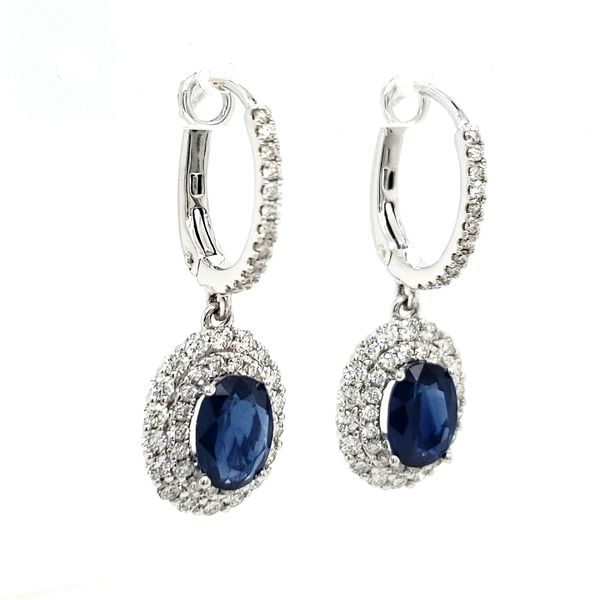 14K White Gold Oval Sapphire & Double Halo Diamond Dangle Earrings Image 3 Quality Gem LLC Bethel, CT