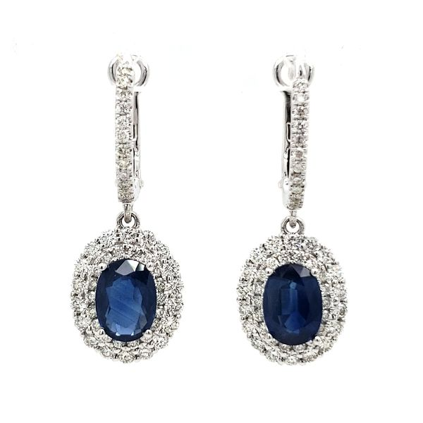 14K White Gold Oval Sapphire & Double Halo Diamond Dangle Earrings Quality Gem LLC Bethel, CT