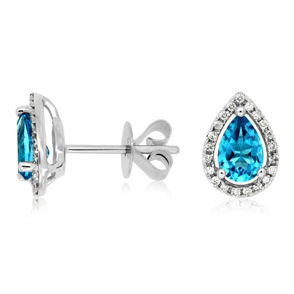 14K White Gold Pear Blue Topaz & Diamond Stud Earrings Quality Gem LLC Bethel, CT