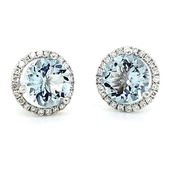 14K White Gold Aquamarine & Diamond Halo Stud Earrings Image 2 Quality Gem LLC Bethel, CT