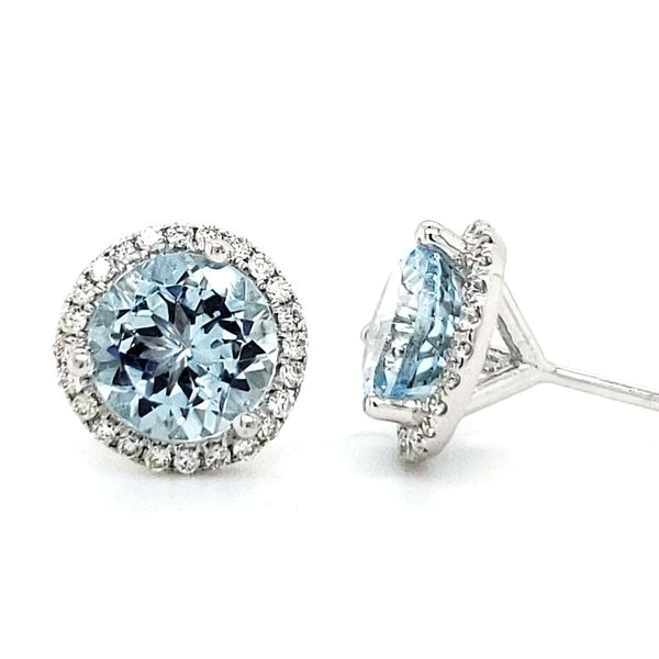 14K White Gold Aquamarine & Diamond Halo Stud Earrings Image 3 Quality Gem LLC Bethel, CT