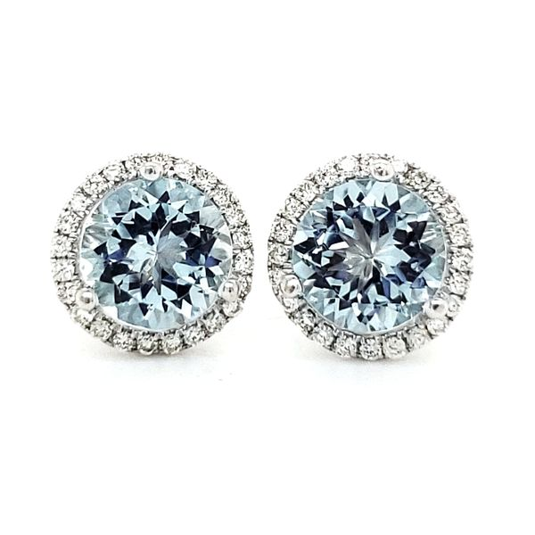 14K White Gold Aquamarine & Diamond Halo Stud Earrings Quality Gem LLC Bethel, CT