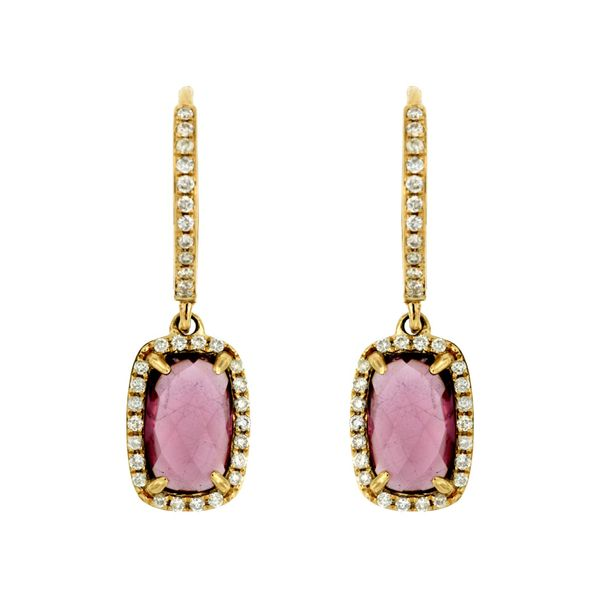 14K Yellow Gold Rhodolite Garnet & Diamond Dangle Earrings Quality Gem LLC Bethel, CT
