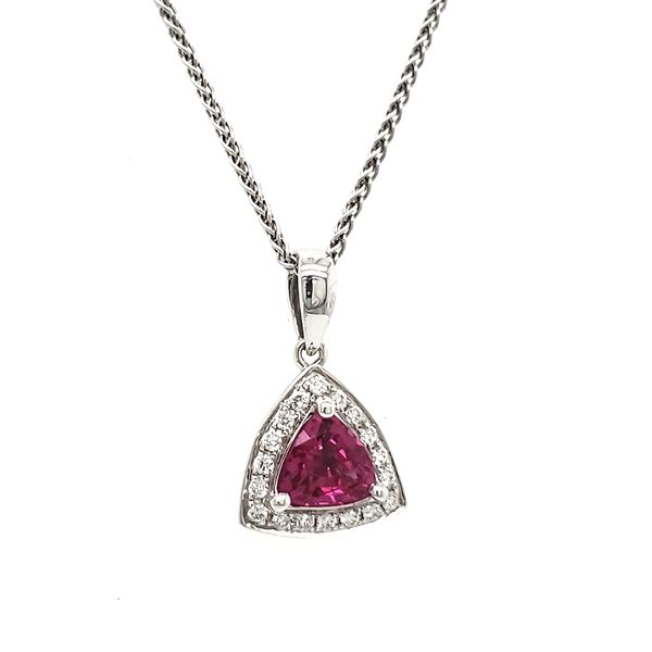 14K White Gold Pink Trilliant Sapphire & Diamond Pendant Image 2 Quality Gem, LLC Bethel, CT
