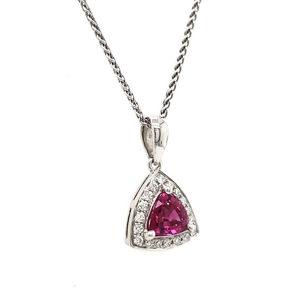 14K White Gold Pink Trilliant Sapphire & Diamond Pendant Image 3 Quality Gem, LLC Bethel, CT