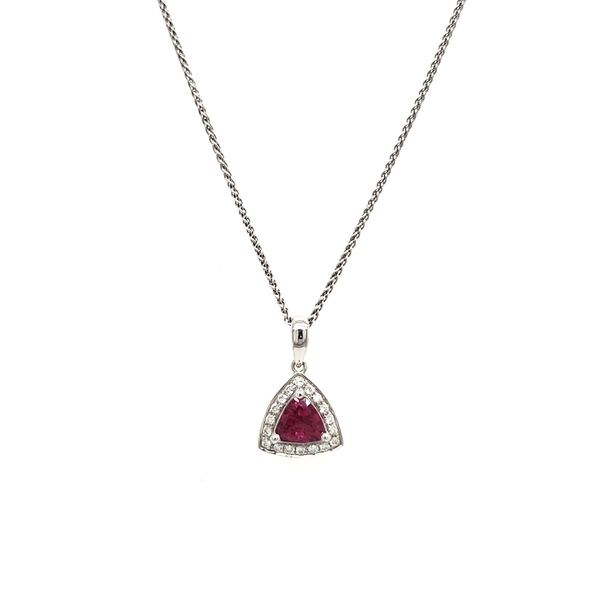 14K White Gold Pink Trilliant Sapphire & Diamond Pendant Image 5 Quality Gem, LLC Bethel, CT