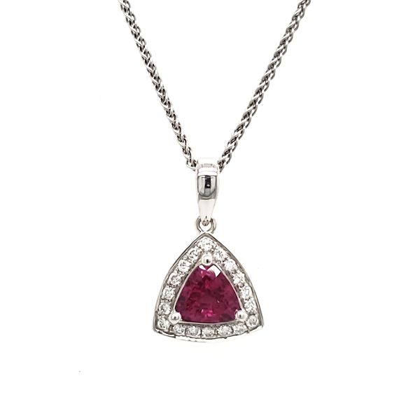 14K White Gold Pink Trilliant Sapphire & Diamond Pendant Quality Gem, LLC Bethel, CT
