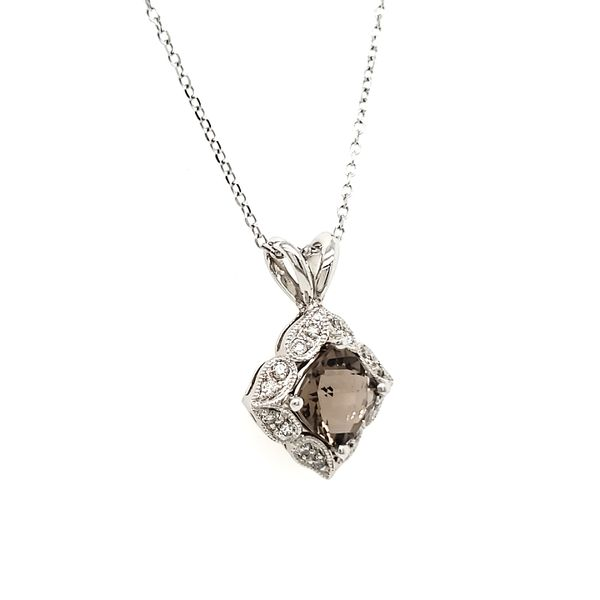 14K White Gold Smoky Quartz & Diamond Antique Style Pendant Image 2 Quality Gem, LLC Bethel, CT