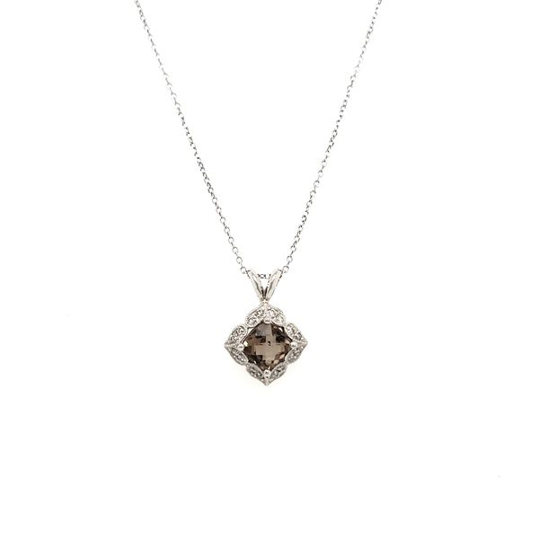 14K White Gold Smoky Quartz & Diamond Antique Style Pendant Image 3 Quality Gem, LLC Bethel, CT