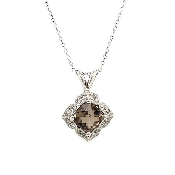 14K White Gold Smoky Quartz & Diamond Antique Style Pendant Quality Gem, LLC Bethel, CT