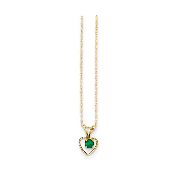 14K Yellow Gold Emerald Heart Pendant Quality Gem, LLC Bethel, CT