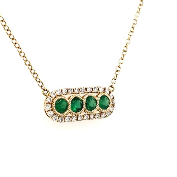 14K Yellow Gold Emerald & Diamond Bar Necklace Image 2 Quality Gem, LLC Bethel, CT