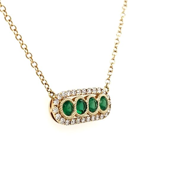 14K Yellow Gold Emerald & Diamond Bar Necklace Image 3 Quality Gem, LLC Bethel, CT