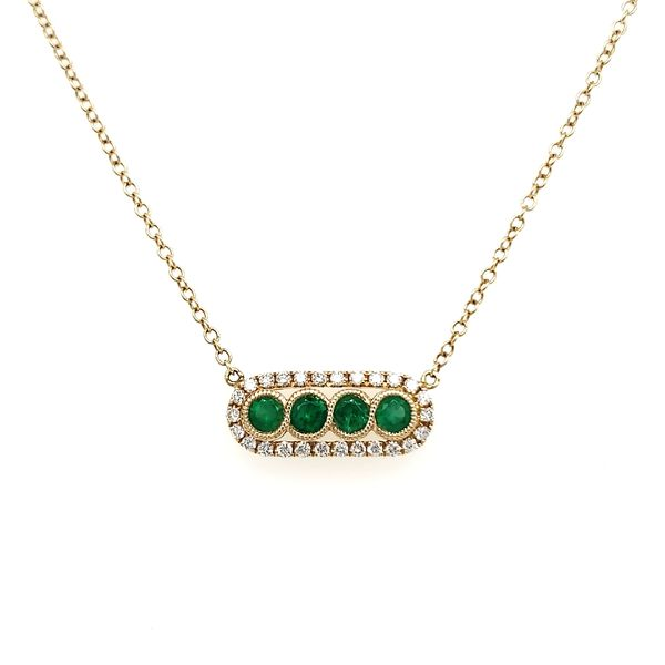 14K Yellow Gold Emerald & Diamond Bar Necklace Image 4 Quality Gem, LLC Bethel, CT