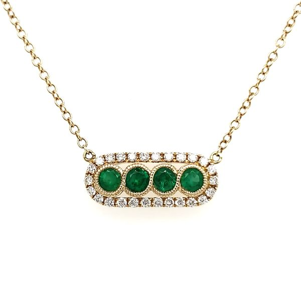 14K Yellow Gold Emerald & Diamond Bar Necklace Quality Gem, LLC Bethel, CT