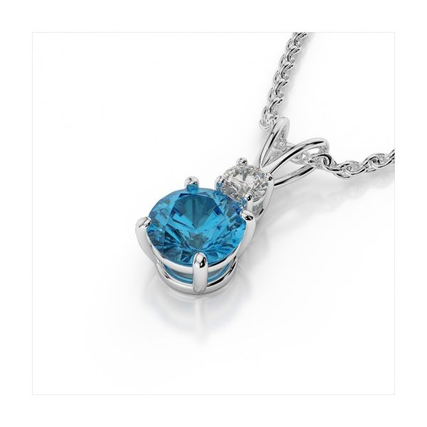 14K White Gold Blue Topaz & Diamond Pendant Image 4 Quality Gem, LLC Bethel, CT