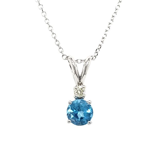 14K White Gold Blue Topaz & Diamond Pendant Quality Gem, LLC Bethel, CT