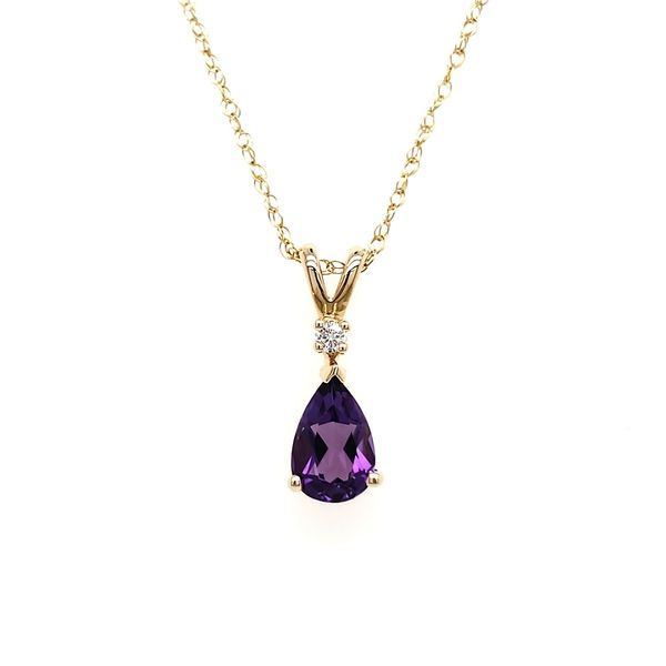 14K Yellow Gold Pear Amethyst & Diamond Pendant Image 3 Quality Gem, LLC Bethel, CT
